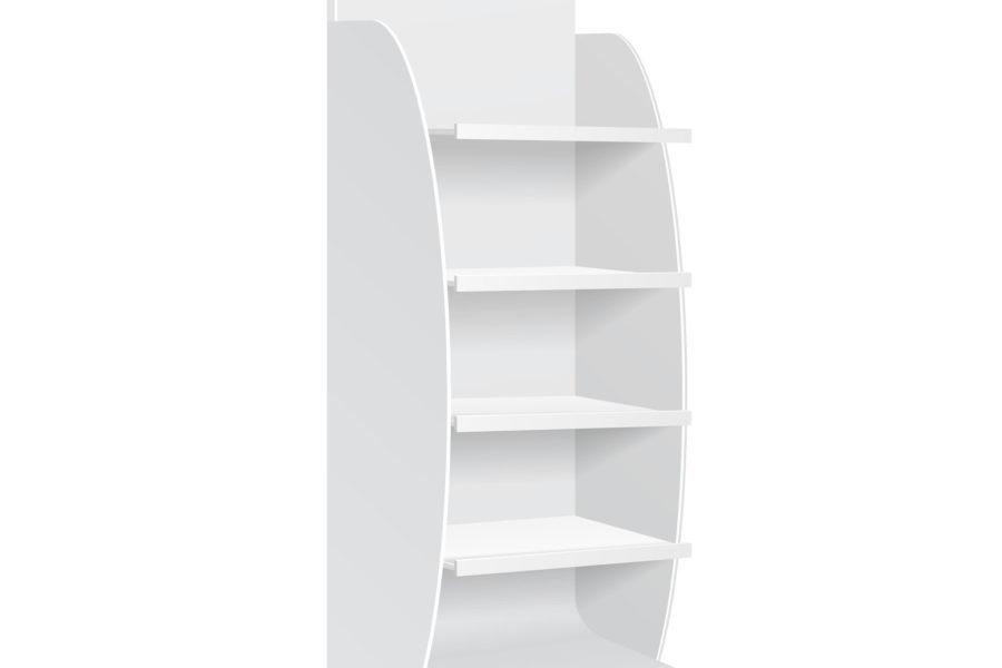 Expositor vertical blanco fabricado con carton ondulado digital